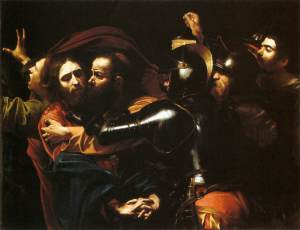 Michelangelo Merisi da Caravaggio, called Caravaggio (Italian), The Taking of Christ, c. 1602, oil on canvas, 134 x 170 cm., National Gallery of Ireland, Dublin.