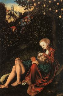 Lucas Cranach the Elder (German), Samson and Delilah, c. 1529, oil & tempera on panel, 57.2 x 37.8 cm, Metropolitan Museum of Art, New York.