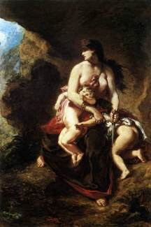 Eugêne Delacroix (French), Medea About to Kill her Children, 1838, oil on canvas, 260 x 165 cm, Musée du Louvre, Paris.