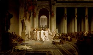 Jean-Léon Gérôme (French), The Death of Caesar, 1859-67, oil on canvas, 85.5 x 145.5 cm., Walters Art Museum, Baltimore.