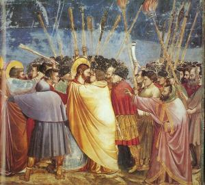 Giotto di Bondone, called Giotto (Italian), Scenes from the Life of Christ no. 15: The Arrest of Christ, 1304-6, fresco, 200 x 185 cm., Cappella Scrovegni (Arena Chapel), Padua.