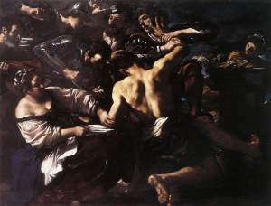 Giovanni Francesco Barbieri, called Guercino (Italian), Samson Captured by the Philistines, 1619, oil on canvas, 191 x 237 cm, Metropolitan Museum of Art, New York.