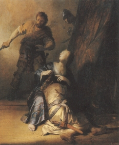 Rembrandt van Rijn (Dutch), Samson and Delilah, 1628, oil on canvas, 59.5 x 49.5 cm, Gemāldegalerie, Berlin.
