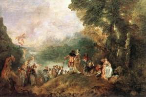 Jean-Antoine Watteau (French), Embarkation for the Island of Cythera, 1717, oil on canvas, 129 x 194 cm., Paris, Musée du Louvre.
