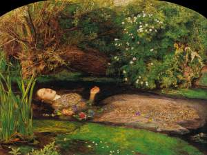 John Everett Millais (British), Ophelia, 1851-2, Oil on canvas, 76 x 112 cm, Tate Gallery, London.