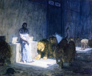 Click image to enlarge. Henry Ossawa Tanner (American), Daniel in the Lion's Den, 1898, oil on paper mounted on canvas, 104.46 x 126.8 cm, Los Angeles County Museum of Art, Los Angeles.