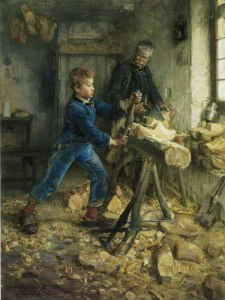 Click image to enlarge. Henry Ossawa Tanner (American), The Young Sabot Maker, 1895, oil on canvas, 120.33 x 89.85 cm, The Nelson-Atkins Museum of Art, Kansas City.