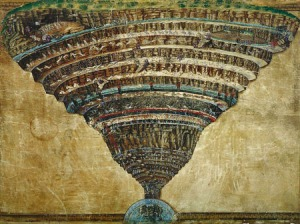 Click image to enlarge. Sandro Botticelli (Italian), Map of Inferno, c.1480-95, Biblioteca Apostolica Vaticana, Rome.