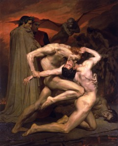 Click image to enlarge. William Bouguereau (French), Dante and Virgil in Hell, 1850, oil on canvas, 281 x 225 cm, Musée d'Orsay, Paris.