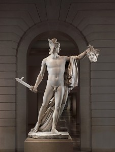 Click image to enlarge. Antonio Canova (Italian), Perseus with the Head of Medusa, 1804-6, marble, H. 95 1/2 x W. 75 1/2 x D. 40 1/2 in., The Metropolitan Museum of Art, New York.