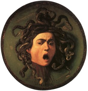 Click image to enlarge. Michelangelo Merisi da Caravaggio, called Caravaggio (Italian), Medusa, 1595-6, oil on canvas mounted on wood, diam. 21.5 in., Galleria degli Uffizi, Florence.