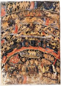 Click image to enlarge. Bartolomeo Di Fruosino (Italian), Inferno from the Divine Comedy by Dante (Folio 1v), 1430-35, Manuscript (Ms. it. 74), 365 x 265 mm, Bibliothèque Nationale, Paris.