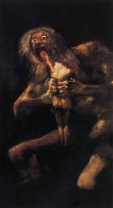 Click image to enlarge. Francisco de Goya, Saturno devorando a su hijo (Saturn Devouring His Son), 1820-24, oil transferred to canvas from mural, 144 x 82 cm., Museo Nacional del Prado, Madrid.
