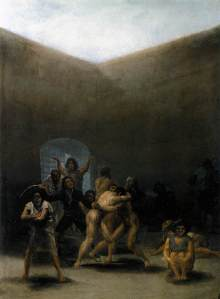 Click image to enlarge. Francisco de Goya, Yard with Lunatics, c. 1794, oil on tinplate, 32.7 cm × 43.8 cm, Meadows Museum, Dallas.
