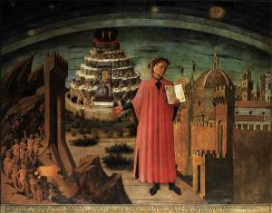 Click image to enlarge. Domenico di Michelino (Italian), La Divina Commedia di Dante (Dante and the Divine Comedy), 1465, fresco, dome of the church of Santa Maria del Fiore, Florence.