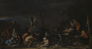 Click image to enlarge. Salvator Rosa (Italian), Witches at their Incantations, c. 1646-9, oil on canvas, 72.5 x 132.5 cm, The National Gallery, London.
