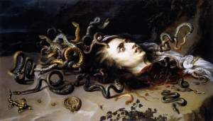 Click image to enlarge. Peter Paul Rubens (Flemish), The Head of Medusa, c. 1617, oil on panel, 69 x 118 cm., Kunsthistorisches Museum, Vienna.