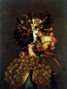 Click image to enlarge. Arcimboldo, Air, 1566, oil on canvas, 74 x 56 cm, private collection.