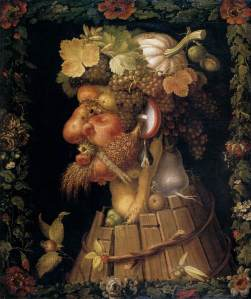 Click image to enlarge. Arcimboldo, Autumn, 1573, oil on canvas, 76 x 64 cm, Musée du Louvre, Paris.