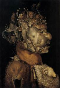 Click image to enlarge. Arcimboldo, Earth, 1566, oil on panel, private collection.