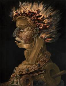 Click image to enlarge. Arcimboldo, Fire, 1566, oil on panel, 67 x 51 cm, Kunsthistorisches Museum, Vienna.
