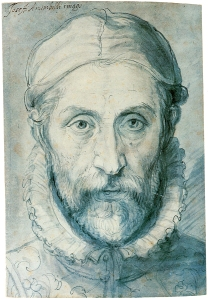 Click image to enlarge. Giuseppe Arcimboldo (Italian), Self Portrait, drawing, National Gallery, Prague.