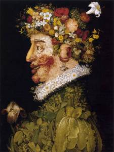Click image to enlarge. Arcimboldo, Spring, 1563, oil on oak wood, 66 x 50 cm, Museo de la Real Academia de San Fernando, Madrid.