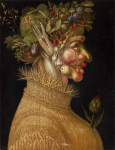 Click image to enlarge. Arcimboldo, Summer, 1563, oil on panel, 67 x 51 cm, Kunsthistorisches Museum, Vienna.
