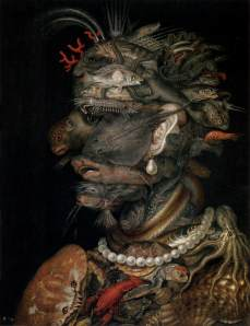 Click image to enlarge. Arcimboldo, Water, 1566, oil on panel, 67 x 51 cm, Kunsthistorisches Museum, Vienna.