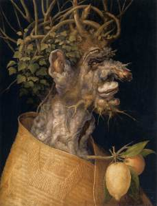 Click image to enlarge. Arcimboldo, Winter, 1563, oil on panel, 67 x 51 cm, Kunsthistorisches Museum, Vienna.