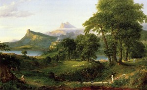 Click image to enlarge. Thomas Cole (American), The Course of the Empire: The Arcadian or Pastoral State, 1836, oil on canvas, 99.7 x 160.7 cm, New York Historical Society, New York.