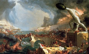 Click image to enlarge. Thomas Cole (American), The Course of the Empire: Destruction, 1836, oil on canvas, 99.7 x 160.7 cm, New York Historical Society, New York.