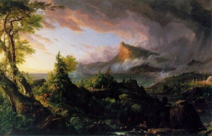 Click image to enlarge. Thomas Cole (American), The Course of the Empire: The Savage State, 1833-6, oil on canvas, 99.7 x 160.7 cm, New York Historical Society, New York.