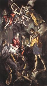 Click image to enlarge. El Greco (Spanish), The Adoration of the Shepherds, 1612-14, oil on canvas, 319 x 180 cm, Museo Nacional del Prado, Madrid.