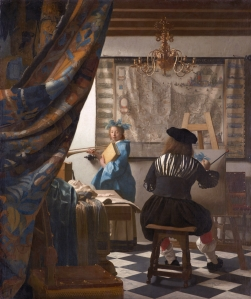Click image to enlarge. Johannes Vermeer (Dutch), The Art of Painting, or Allegory of Painting, c. 1666, oil on canvas, 130 cm × 110 cm, Kunsthistorisches Museum, Vienna.