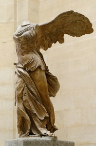 Click image to enlarge. Unknown Greek sculptor, Nike of Samothrace, or Winged Victory of Samothrace, c. 190 BC, Parian marble, 18 ft 3 in with pedestal, Musée du Louvre, Paris.