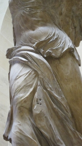 Click image to enlarge. Nike of Samothrace, detail of abdomen and legs.
