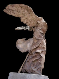 Click image to enlarge. Nike of Samothrace, view of left side.