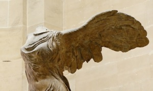 Click image to enlarge. Nike of Samothrace, detail of upper torso and wings.