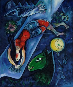 Click image to enlarge. Marc Chagall (Russian), The Blue Circus, 1950, oil on canvas, Tate, London.