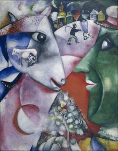 Click image to enlarge. Marc Chagall (Russian), I and the Village, 1911, oil on canvas, 192.1 x 151.4 cm, Museum of Modern Art, New York.