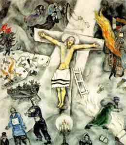 Click image to enlarge. Marc Chagall (Russian), White Crucifixion, 1938, oil on canvas, 154.6 x 140 cm, Art Institute of Chicago.
