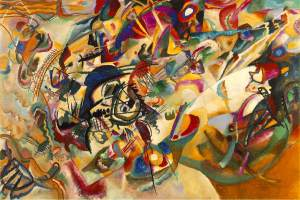 Click image to enlarge. Wassily Kandinsky (Russian), Composition VII, 1913, oil on canvas, 200 x 300 cm, The State Tretyakov Gallery, Moscow.