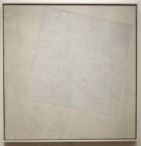 Click image to enlarge. Kazimir Malevich (Russian), Suprematist Composition: White on White, 1918, oil on canvas, 79.4 x 79.4 cm, Museum of Modern Art, New York.
