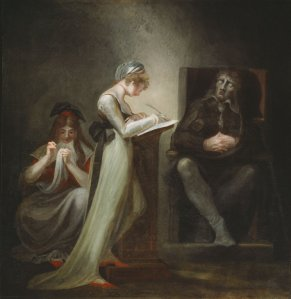 Henry Fuseli (Swiss-born English), Milton Dictating to his Daughter, 1794, oil on canvas, 121.2 x 118.7 cm, Art Institute of Chicago.