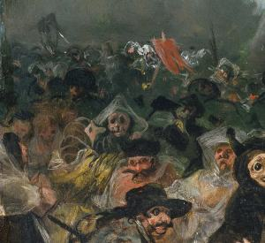 Click image to enlarge. Goya, Burial of the Sardine, detail of masked figures.