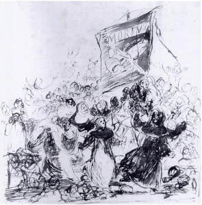 Click image to enlarge. Goya, Sketch for Burial of the Sardine, c. 1816, pen and sepia ink, Museo Nacional del Prado, Madrid.