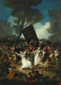 Click image to enlarge. Francisco de Goya (Spanish) Burial of the Sardine, c. 1812-19, oil on panel, 82.5 × 52 cm, Real Academia de Bellas Artes de San Fernando, Madrid.