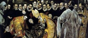 Click image to enlarge. El Greco, Burial of Count Orgaz, detail of lower section.