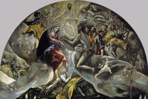 Click image to enlarge. El Greco, Burial of the Count of Orgaz, detail of upper section.